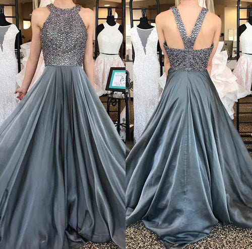 Chiffon Grey Rhinestone Beaded A-line Top Dark Long Prom Dresses at promnova.com