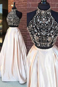 Fabulous High Neck Beaded Two Pieces Cheap Long Prom Dresses PL211