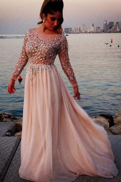 Chiffon Beaded A-line Long Sleeves Scoop Neck Long Prom Dresses PL212