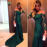 Long Sleeves Lace Green Mermaid Backless Prom Dresses,Evening Dresses at promnova.com