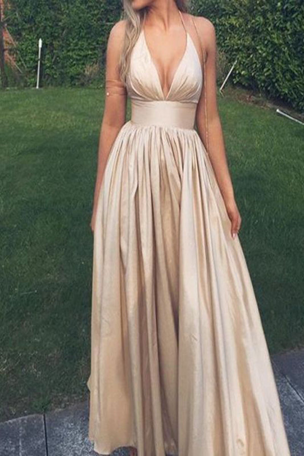 Satin A-line V-neck Sleeveless Open Back Long Prom Dresses,Party Dress PL215