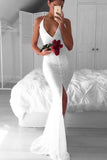 Elegant White Halter Lace V Neck Side Slit Long Prom Dresses,Party Dress PL216