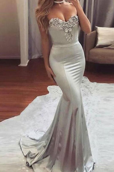 New Arrival Silver Beaded Off Shoulder Sweetheart Mermaid Long Prom Dresses PL217