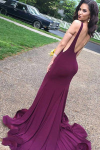 Cheap Attractive Burgundy Open Back Long Prom Dresses with Sweep Train PL218