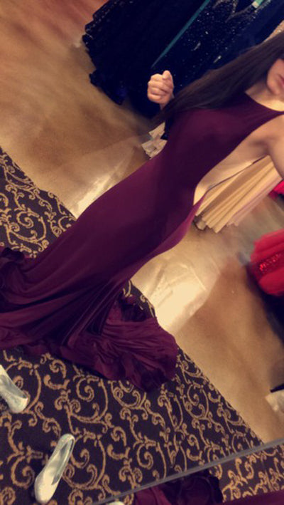 Cheap Attractive Burgundy Open Back Long Prom Dresses with Sweep Train at promnova.com