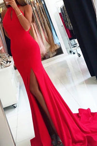 Simple Sleeveless Red Mermaid Evening Dress, Long Prom Dress with Slit PL219