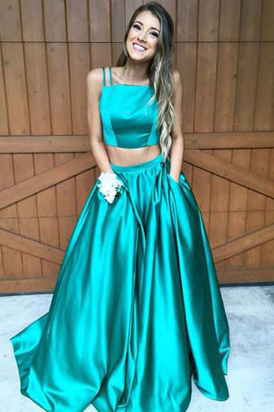 Satin Green Two Piece Turquoise Long Prom Dress Prom Gown PL221