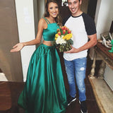 Satin Green Two Piece Turquoise Long Prom Dress Prom Gown at promnova.com