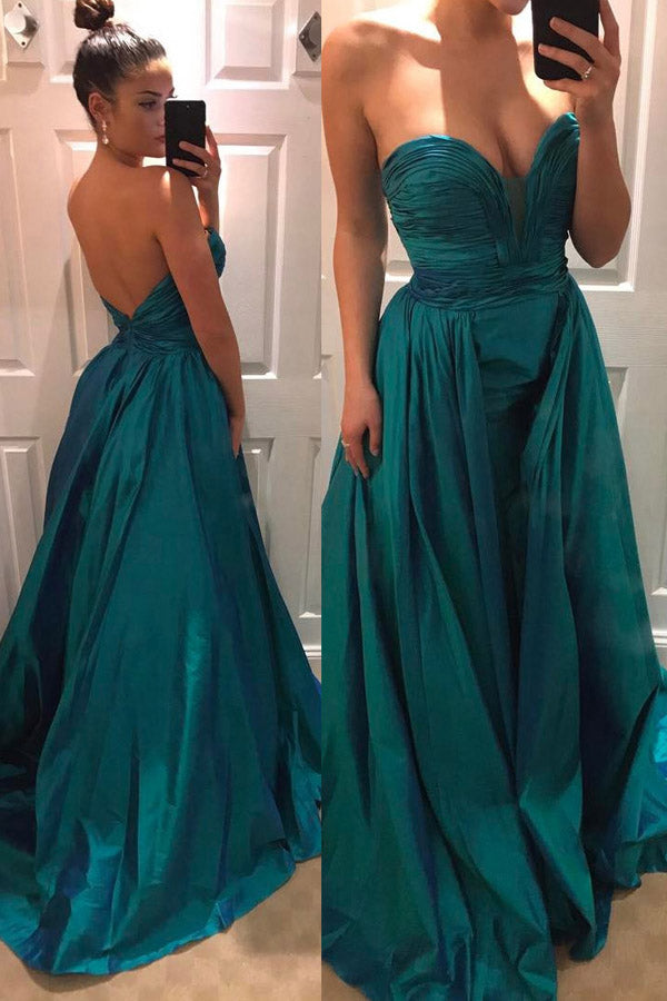 Green Taffeta Pleated Strapless Sweetheart Open Back Prom Dress PL223
