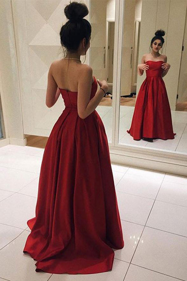 Gorgeous Red Satin Strapless A Line Cheap Prom Dresses Evening Gowns ...