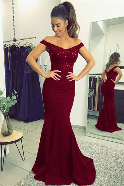 Fabulous Burgundy Mermaid Lace V-neck Long Prom Dresses with Beading PL227