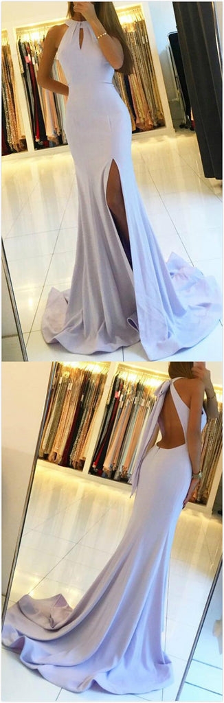 Light Blue Mermaid Cheap Backless Sleeveless Long Prom Dress With Keyhole at promnova.com