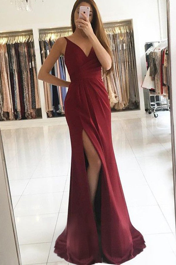 Burgundy Elastic Satin Sheath V-Neck Split Prom Dress with Sweep Train PL229