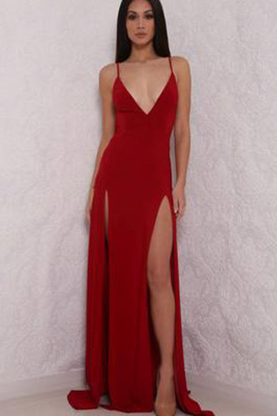 Fabulous Red Backless Deep V Neck High Slit Long Prom Dresses PL231