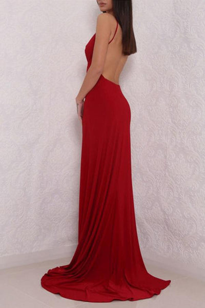 Fabulous Red Backless Deep V Neck High Slit Long Prom Dresses at promnova.com