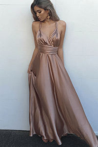 Blush Simple V-Neck Floor Length Criss-Cross Straps Prom Dress with Pleats PL232