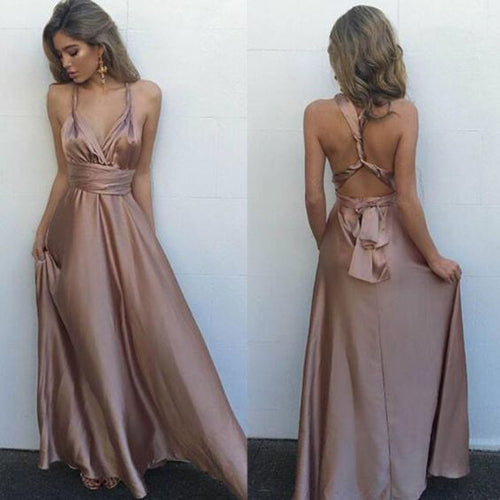 Blush Simple V-Neck Floor Length Criss-Cross Straps Prom Dress with Pleats at promnova.com