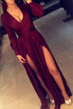 Burgundy Sleeved Deep V Neckline Floor Length Prom Dress With Slits PL233