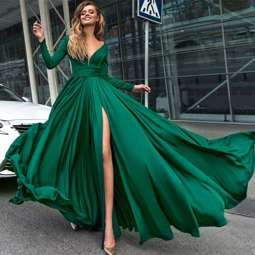 Green Deep V Neck Long Sleeve Long Prom Dress With Thigh-High Slit PL234