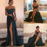 Dark Green A-line chiffon Lace Off Shoulder Floor-length Prom Dress at promnova.com