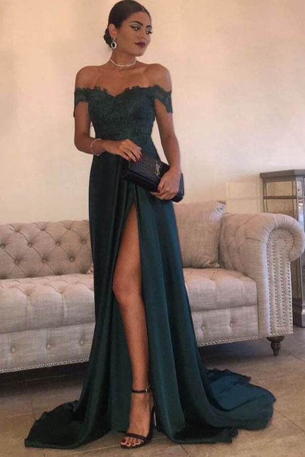 Dark Green A-line chiffon Lace Off Shoulder Floor-length Long Prom Dress PL236