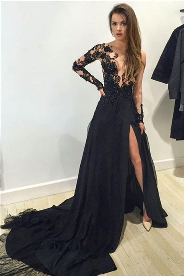 Black Illusion Lace Top Chiffon Long Sleeve Prom Dress With Sweep Train PL237