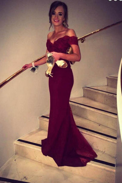 Burgundy Floor Length Off Shoulder Mermaid Prom Dress With Sweep Train PL239