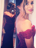 Burgundy Floor Length Off Shoulder Mermaid Prom Dress With Sweep Train at promnova.com