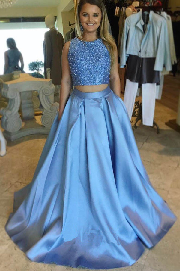 Two-Piece Sleeveless Beaded Sky Blue Satin Long Prom Dresses – Promnova
