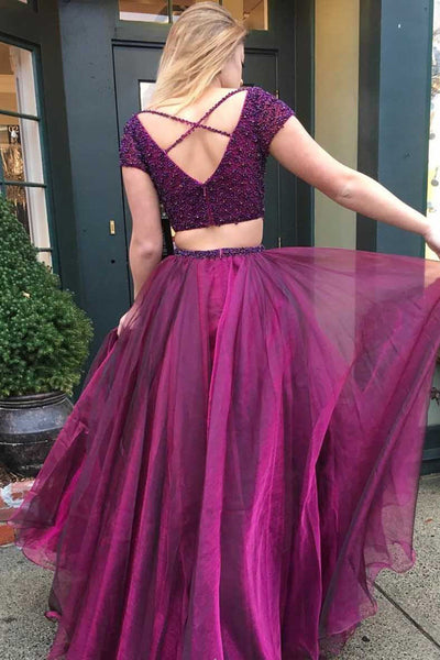 Beaded Two-Piece Tulle Short Sleeve Deep V Neckline Long Prom Dress at promnova.com
