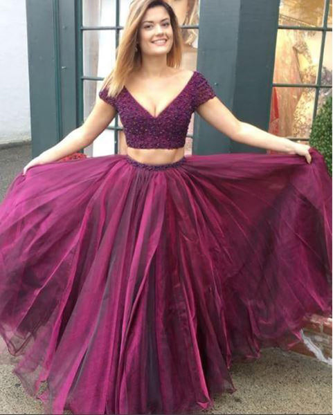 Beaded Two-Piece Tulle Short Sleeve Deep V Neckline Long Prom Dress PL241