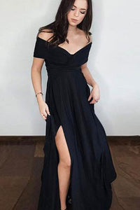 Pretty Black Chiffon Long Prom Dress with Side Slit, Black Evening Dress PL243