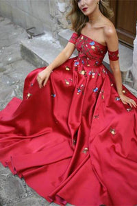 Red Off Shoulder A-line Prom Dresses with Flower Appliques PL245