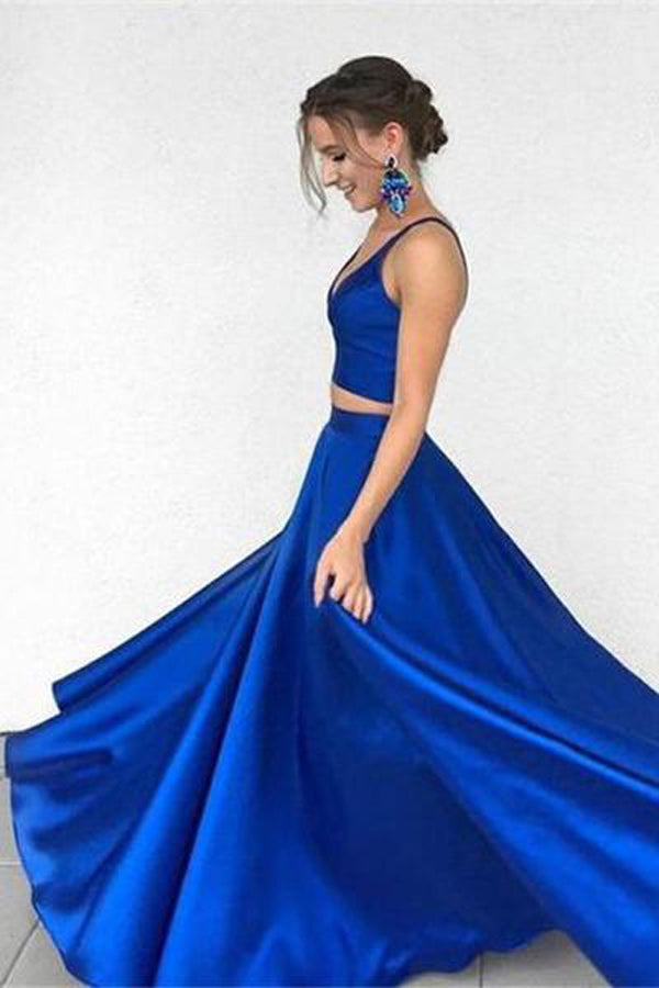 Charming Royal Blue Two Pieces Long Prom Dress Party Dresses PL246