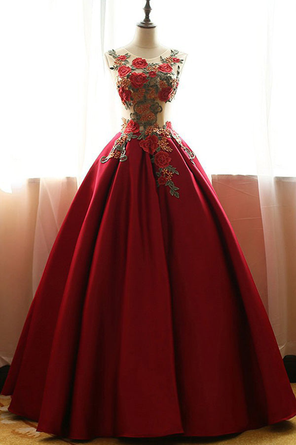 Red Satin Aline Quinceanera Dress,Applique Ball Gown Prom Dress PL247