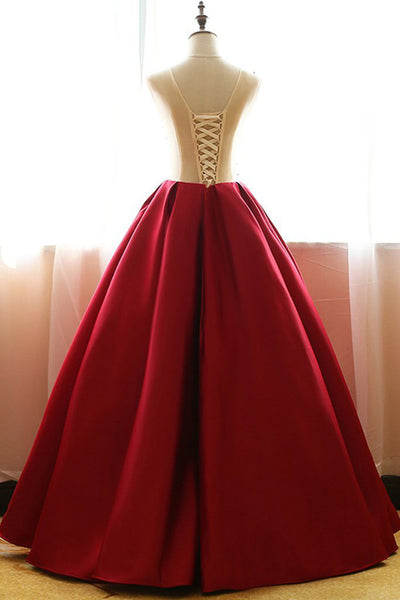 Red Satin Aline Quinceanera Dress,Applique Ball Gown Prom Dress at promnova.com