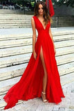Red V Neck Chiffon Split Long Prom Dresses, Evening Dresses PL248