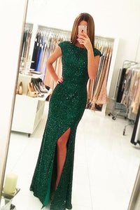 Green Sequins Cap Sleeves Open Back Mermaid Prom Dress with Side Slit PL249
