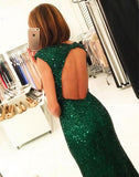 Green Sequins Cap Sleeves Open Back Mermaid Prom Dress with Side Slit at promnova.com