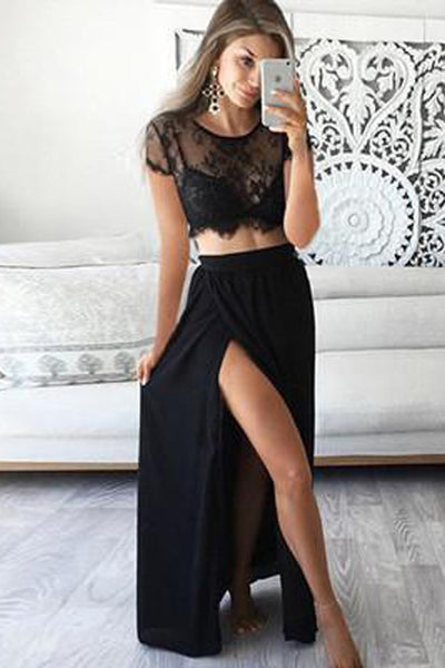 Black Lace Two Pieces Short Sleeve Side Slit Long Prom Dresses PL250