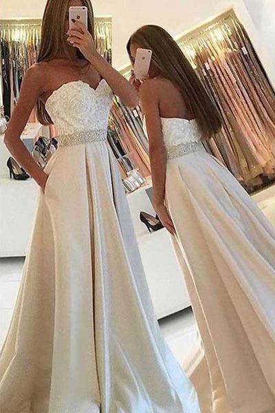 Elegant Light Sweetheart Lace Top Long Evening Prom Dress PL252