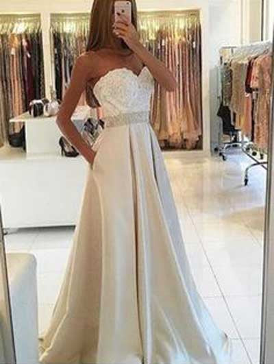 Elegant Light Sweetheart Lace Top Long Evening Prom Dress at promnova.com