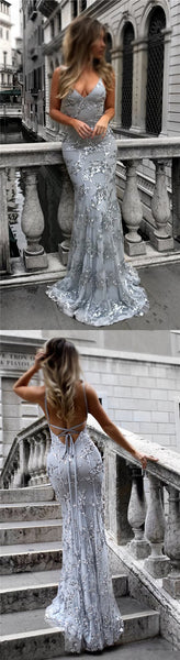 Silver Sequin Sparkly Mermaid Newest Prom Dresses, Evening Dresses at promnova.com