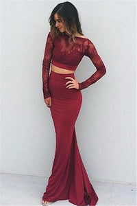 Two Pieces Backless Mermaid Burgundy Long Sleeves Lace Prom Dresses