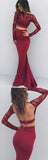 Two Pieces Backless Mermaid Burgundy Long Sleeves Lace Prom Dresses at promnova.com