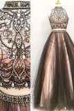 Two Piece Halter High Neck Beaded A-line Top Tulle Long Prom Dresses PL256