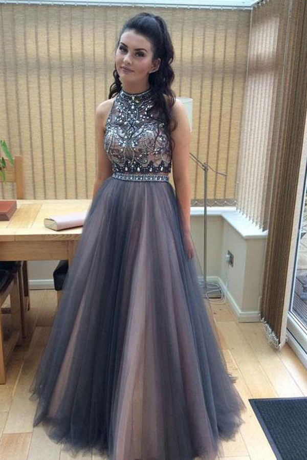 Two Piece Halter High Neck Beaded A-line Top Tulle Long Prom Dresses at promnova.com
