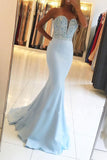 Mermaid Blue Sweetheart Neck Strapless Beaded Bodice Prom Dresses PL257