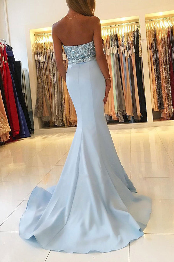 Mermaid Blue Sweetheart Neck Strapless Beaded Bodice Prom Dresses at promnova.com