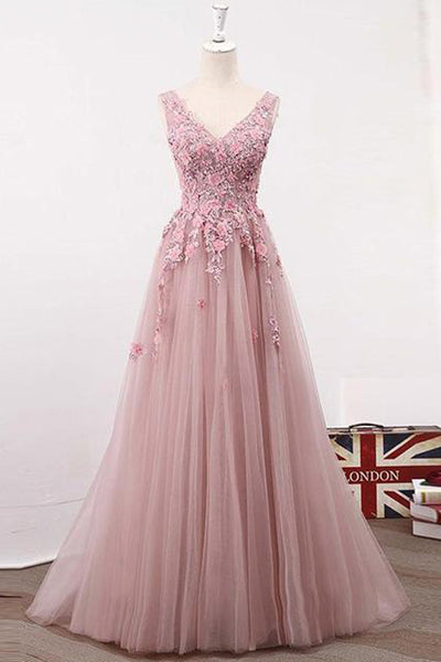 Blush Pink Lace A line See Through Long Prom Dresses Party Dresses PL258
